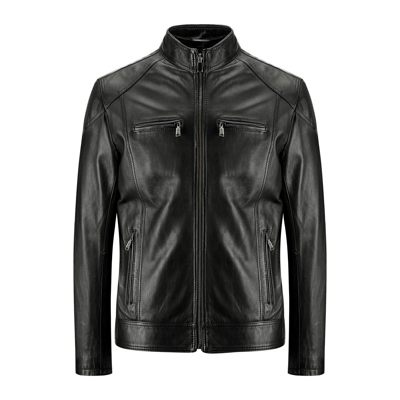 giacca in pelle nera uomo