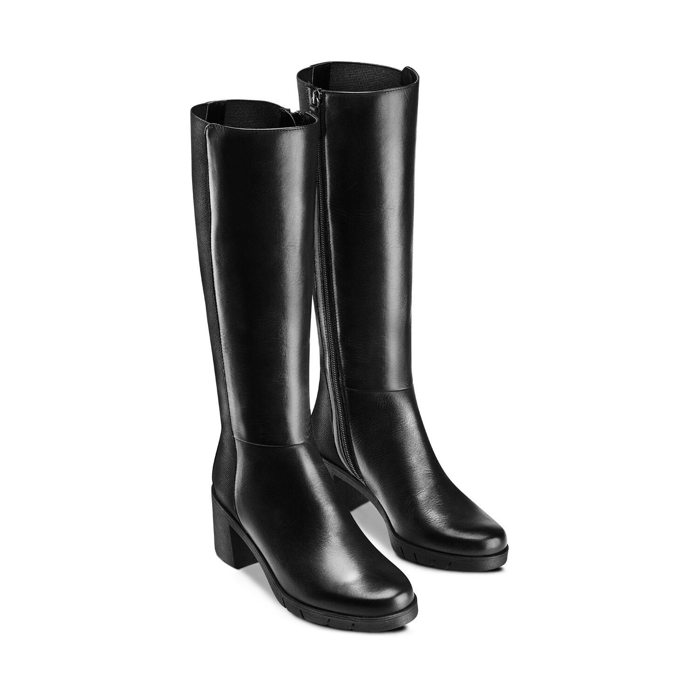 Stivali in pelle con tacco largo Female , Nero | Bata