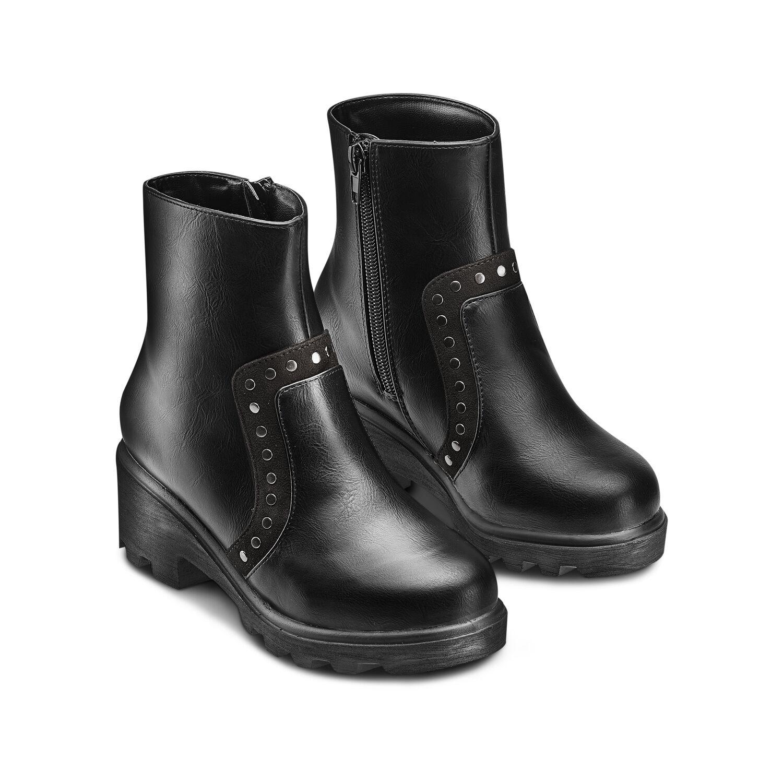 STIVALETTO BASSO DONNA, PUNTA CON BORCHIE ARGENTO FONDO ANTISCIVOLO E TESSUTO IMPREZIOSITO DA BORCHIE LATERALI donna stivaletti Malu Shoes | MaluShoes