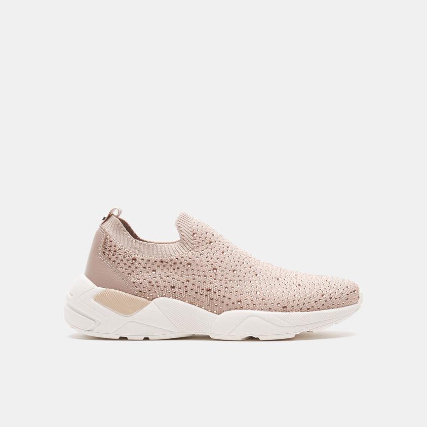 Sneakers senza lacci con strass applicati